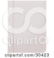 Clipart Illustration Of A Blank Lined College Ruled Piece Of Paper With Binder Ring Holes