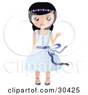 Clipart Illustration Of A Friendly Black Haired Caucasian Girl With Flowers In Her Hair Waving And Wearing A Pretty Blue Dress