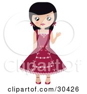 Friendly Black Haired Caucasian Girl With Her Hair In Pigtails Waving And Wearing A Pretty Red Dress
