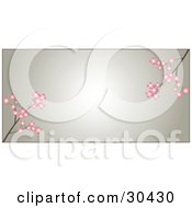 Two Branches Of Pink Dogwood Flowers Over A Gradient Brown Background