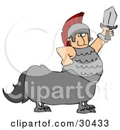 Clipart Illustration Of A Roman Soldier Centaur Man Holding Up A Sword