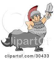 Roman Soldier Centaur Man Holding Up A Sword