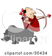 Clipart Illustration Of A Cupid Centaur Man Shooting Red Heart Valentines Day Arrows