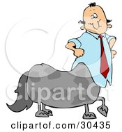 Clipart Illustration Of A Centaur Businessman In A Blue Shirt And Red Tie
