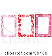 Clipart Illustration Of A Set Of Heart And Floral Stationery Backgrounds