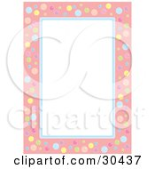 White Stationery Background Bordered In Pink And Blue With Colorful Bubbles