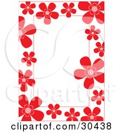 White Stationery Background Bordered In Red Flowers
