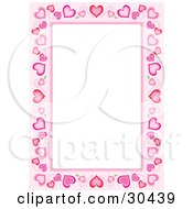 Stationery Border Of Different Sized Hearts Around White Space