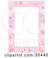 Clipart Illustration Of A White Stationery Background Bordered In Pink With Cosmetics Jewels Butterflies Accessories And Jewelery