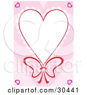 Stationery Border Of Lacy Heart With A Bow Around White Space With Pink Hearts In The Corner