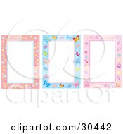 Clipart Illustration Of A Set Of Three Bubble Butterfly And Feminine Stationery Backgrounds