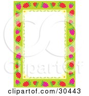 White Stationery Background Bordered In Pink And Red Raspberries With Daisy Flowers And Petals On Green
