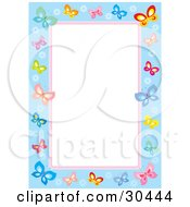 White Stationery Background Bordered In Blue And Pink With Colorful Butterflies And Flowers