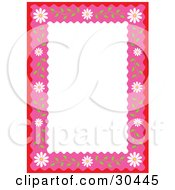 White Stationery Background Bordered In Red And Pink With White Daisy Flowers And Stems