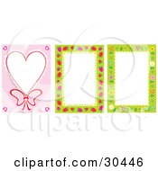 Set Of Heart Raspberry And Flower Stationery Backgrounds