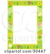 White Stationery Background Bordered In Green With Colorful Daisy Flowers