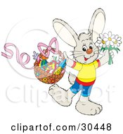 Happy Bunny Rabbit Wearing Clothes Holding Spring Daisy Flowers And A Basket Of Colorful Easter Fruit