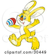 Clipart Illustration Of A Cute Yellow Rabbit Running Past With A Colorful Egg In His Hand