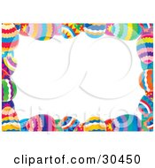 Clipart Illustration Of A White Stationery Background Bordered With Colorful Easter Eggs by Alex Bannykh #COLLC30450-0056