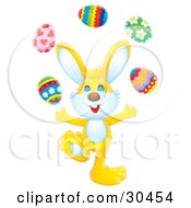 Clipart Illustration Of A Juggling Yellow Rabbit Tossing Easter Eggs Into The Air
