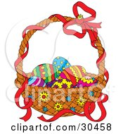 Clipart Illustration Of A Red Ribbon On The Handle Of A Basket Of Colorful Easter Eggs