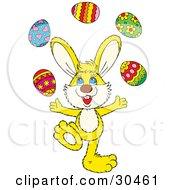 Clipart Illustration Of A Talented Yellow Bunny Juggling Colorful Easter Eggs