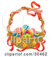 Clipart Illustration Of Colorful Eggs Nestled In An Easter Basket With A Red Ribbon On The Handle