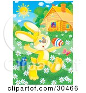 Clipart Illustration Of A Blue Bird And Butterfly Flying Around A Yellow Rabbit Prancing In A Meadow Of Spring Daisy Flowers Near A Log Cabin On A Sunny Day by Alex Bannykh