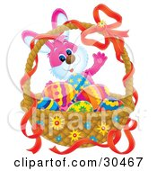 Clipart Illustration Of A Pink Easter Bunny Standing Behind A Basket Of Colorful Eggs