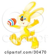 Clipart Illustration Of A Yellow Blue Eyed Bunny Rabbit Waving And Walking Past With A Colored Easter Egg