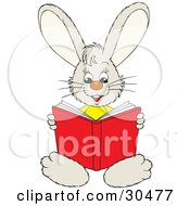 Clipart Illustration Of A Smart Little Bunny Rabbit Sitting And Reading A Red Book by Alex Bannykh #COLLC30477-0056