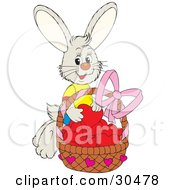 Sweet Bunny Rabbit Wearing A T Shirt Putting Red Hearts In A Basket Of Valentines