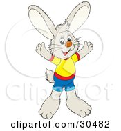 Clipart Illustration Of A Friendly Bunny Dressed In Shorts And A Shirt Holding His Arms Out