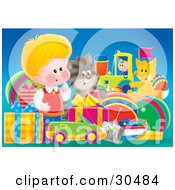 Clipart Illustration Of A Cute Little Blond Boy A Cat And Fox Admiring A Large Group Of Birthday Presents by Alex Bannykh
