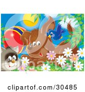 Clipart Illustration Of A Blue Bird Flying Over A Puppy Dog And A Cat With A Ball In A Field Of Spring Daisy Flowers