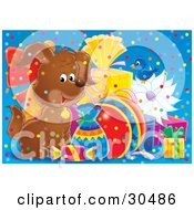 Clipart Illustration Of A Bluebird And Happy Brown Puppy Dog Surrounded By Confetti And Birthday Presents by Alex Bannykh