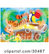 Poster, Art Print Of Tiger By An Orange Bird Flying By A Parrot Perched On A Treasure Chest Full Of Gold And Diamonds
