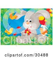 Clipart Illustration Of A Gray Bunny Rabbit Sitting In Grass Picking Petals Off Of A Red Daisy Flower With Orange Birds Flying Around by Alex Bannykh