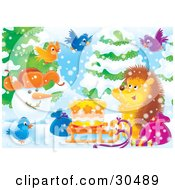 Clipart Illustration Of Colorful Birds And A Hedgehog Presenting A Snowman With A Birthday Cake On A Sled On A Snowy Winter Day