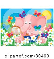 Clipart Illustration Of A Cute Pink Baby Elephant Sitting In A Field Of Spring Daisy Flowers Looking At Butterflies Through A Magnifying Glass
