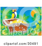 Clipart Illustration Of A Blue And Yellow Parrot Perched Atop An Open Treasure Chest Full Of Diamonds And Gold Coins by Alex Bannykh