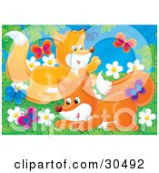 Clipart Illustration Of Two Playful Fox Kits Chasing Butterflies In A Field Of Daisy Flowers On A Spring Day