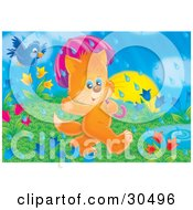 Clipart Illustration Of A Blue Bird Flying Behind An Orange Kitten Using An Umbrella While Walking By A Puddle Through A Field Of Tulips On A Rainy Spring Day by Alex Bannykh