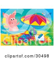 Clipart Illustration Of A Blue Bird Perched On An Umbrella Watching A Pink Pig Swim By Beach Toys And A Towel On The Beach