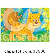 Clipart Illustration Of A Cute Baby Bobcat Walking Through A Forest