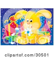 Clipart Illustration Of A Cute Yellow Baby Bunny Rabbit Sitting In Front Of A Group Of Presents Picking Petals Off Of A Yellow Daisy Flower by Alex Bannykh