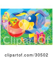Clipart Illustration Of A Butterfly Near A Cute Blue Donkey Sitting In Grass With A Present Holding A Clear Ball Or Bubble
