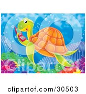 Clipart Illustration Of A Social Sea Turtle Swimming And Talking On A Red Cell Phone by Alex Bannykh
