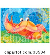 Clipart Illustration Of A Friendly Orange Crab Raising A Claw To Wave At A Friend