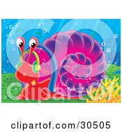 Clipart Illustration Of A Red Sea Snail With A Purple Shell Moving Slowly Along The Sea Floor